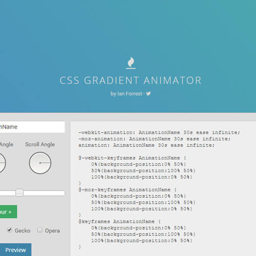 Screenshot of gradient-animator.com