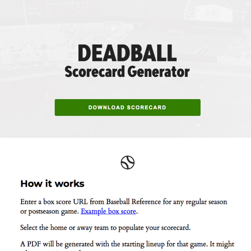 Screenshot of deadball-scorecard.com